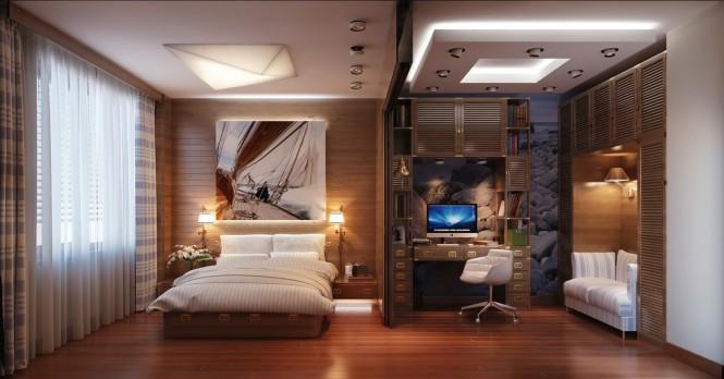 многоуровневая система освещения в большой современной спальне