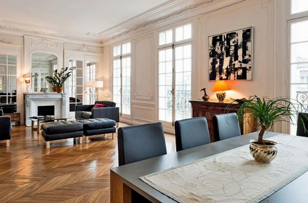 парижский стиль в интерьере смешение классики и современности большая гостиная