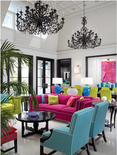 яркие и казалось бы несовместимые цвета в гостиной