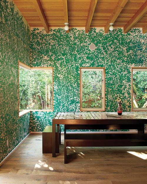 Роспись стены имитируящая листву деревьев
