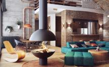 дизайн интерьера в стиле лофт - современный лофт с яркими диванами и кирпичной стеной